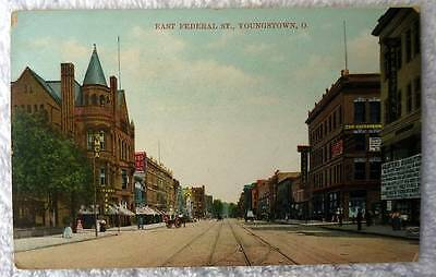 Postcard East Federal Street Business Section Youngstown Ohio  H78