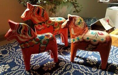 3 SWEDISH DALA HORSES ~ NILS OLSSON  Wooden Carved Vintage