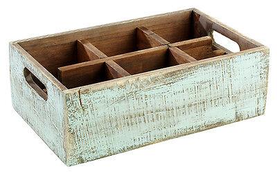 """Table Caddy VINTAGE aus Pinienholz Box für Menagen und Flaschen """"blau"""" 27x17 cm"""