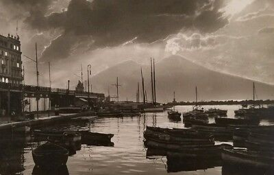 Vintage Postcard Napoli Santa Lucia Di Notte posted Divided Back Boats a2-312