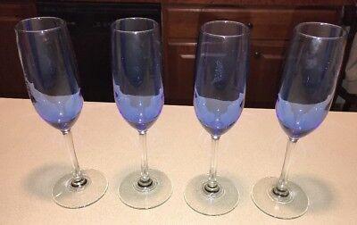 "Cobalt/Royal Blue Clear Stem Two-Tone 9.25"" T Champagne Glasses Flutes Set of 4"