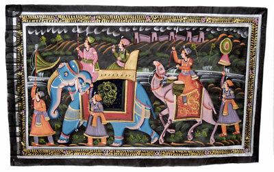 Hanging Wall Painting Mughal on Silk Art Scene de Life India 75x46cm 21