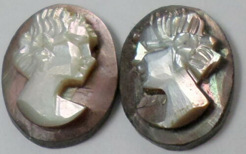 12 -10x8mm Mother Pearl Shell Antique Loose Carved Left &Right Face Woman Cameos