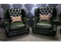 Stunning Chesterfield Pair of Thomas Lloyd Wing Back Chairs Green Leather - Uk Delivery