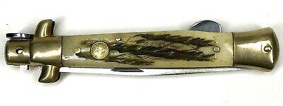 Kissing Crane Stiletto KC5054 Folding Pocket Knife Damascus Blade Lockback