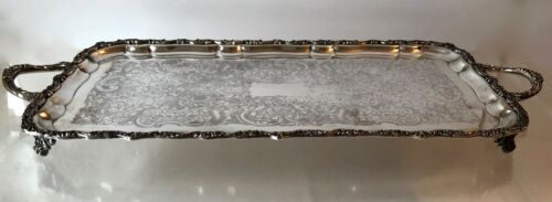 1900s~WILLIAM ADAMS ENDLAND~SILVER PLATE SERVING TRAY~RECTANGULAR~FOOTED HANDLES