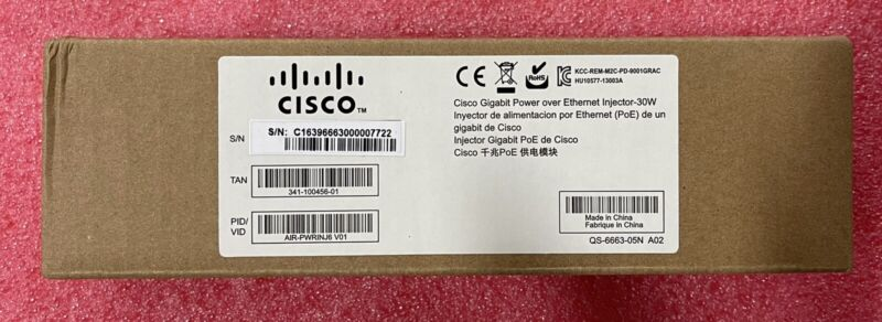 New Cisco AIR-PWRINJ6 PoE injector AC 100-240V 802.3AT for AccessPoints