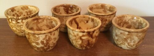 Antique Brown Spongeware Yellow Ware Custard Cup w Ceramic Glaze