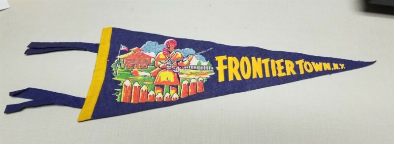 Vintage Frontier Town NY Amusement Park Pennant Adirondack Mountains New York