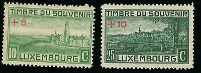 LUXEMBOURG CHARITY TO WORLD WAR I STAMPS 10c + 5c & 25c + 10c SC 209 & 211