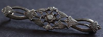 Antike Jugendstil Brosche mit Bergkristall Silber 835 Silberbrosche