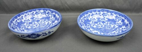 Pair of Antique Chinese Old Blue And White Porcelain Phoenix Bowl