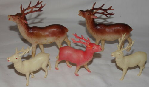 Vintage Christmas Celluloid Reindeer Brown Pink & White Occupied Japan