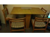 Dining table Wooden foldable with 4 chairs