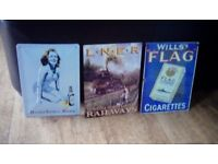 3 reproduction metal signs various advertisement