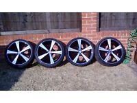 "Inovit spin 8x19"" alloy wheels x4 vw seat audi skoda toyota 5x100"