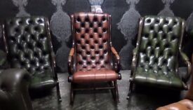 Stunning Chesterfield Slipper Rocking Chair Leather Green - UK Delivery