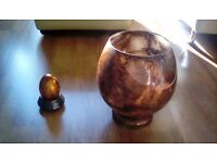 BROWN GLASS FISH BOWL STYLE VASE