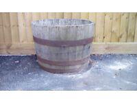 Half barrel full of soil