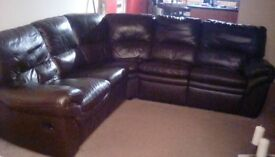 Brown leather corner couch