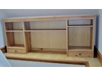 SHELVES - solid wood shelving unit with two small drawers