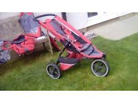 Phil & Ted red stroller with raincover , newborn cacoon second seat attachment
