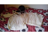 Childs cricket tops and helmet