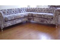 Silver crushed velvet chesterfield sofa with chrome french feet & studs
