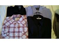 LARGE COLLECTION OF MENS CLOTHES, SHIRTS, JACKETS, JUMPERS, SHOES, JEANS