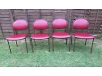 Set of 4 Retro Industrial chairs, Heavy iron legs, dining, reception, meeting, theatre stackable