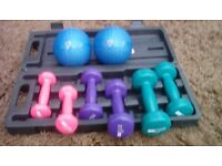 Boxed weights and two weighted balls.