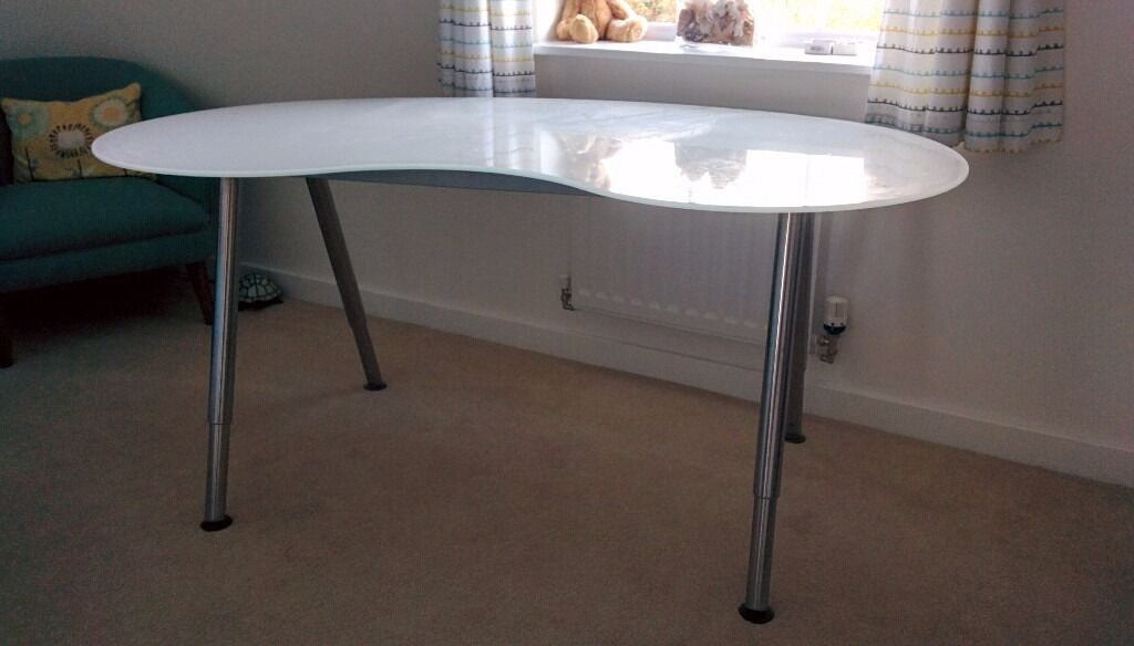 IKEA Glass Desk / Table - White Glass, Metal Legs, Kidney Shaped