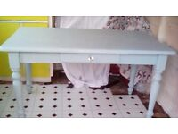 Beautiful dining table shabby chic painted in duck egg chalk paint