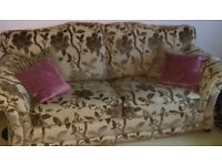 3 & 2 sofa. 3 seater is flora. 2 seater is stripe. 2 years old. Selling due to moving house.