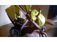Oyster max double pram lime green