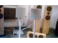 2 Linn unik speakers with stands .