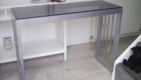 Silver grey table with matching mirror 1 metre long