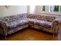 Crushed velvet Lshape sofa