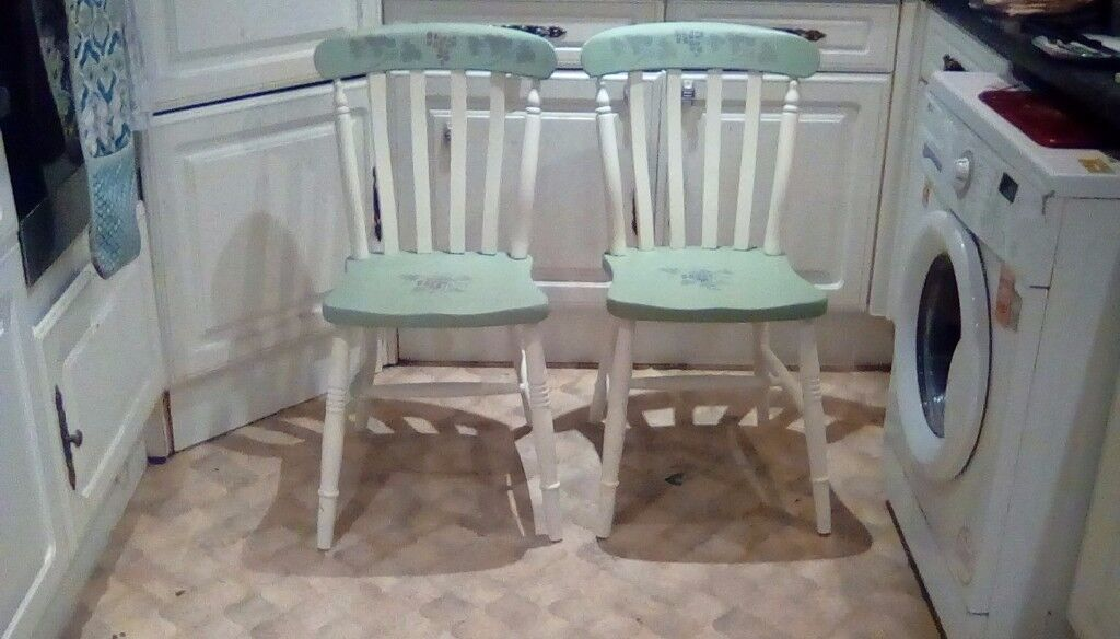 2 Farm house style kitchen chairs.