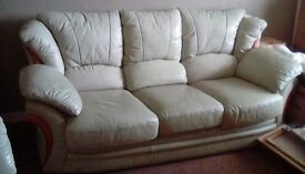 3 seat leather sofa with matching armchair