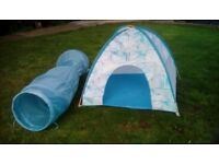 Igloo style play tent with long blue tunnel.