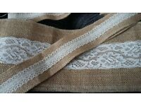 Hessian and lace 2 pieces 5m wedding art craft