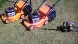 2 Lawnmowers and hedge cutters