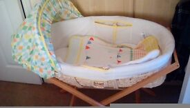 Mothercare unisex moses basket and wooden mamas and papas stand