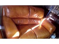 Leather 2 seater with armchair and footstool FREE DELIVERY FREE DELIVERY!!!