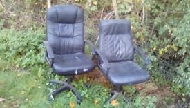 Leather office chairs x 2 free to collector