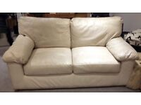 Marks & Spencer Milan cream leather 2 Seater Sofa and Chair