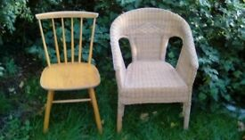 Wicker chair full size no damage and odd pine chair free to collector