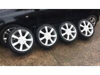 "17"" 5x100/108 Fox alloys wheels vw mk4 golf bora Ford Focus mondeo seat Audi bmw Vauxhall"