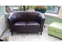 Faux leather settee 2 seater